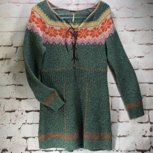 Dresses & Skirts - FREE PEOPLE Fair Isle Sweater Dress. EUC